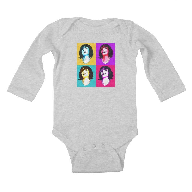 Luann Pop Art in Kids Baby Longsleeve Bodysuit Heather Grey by Watch What Crappens