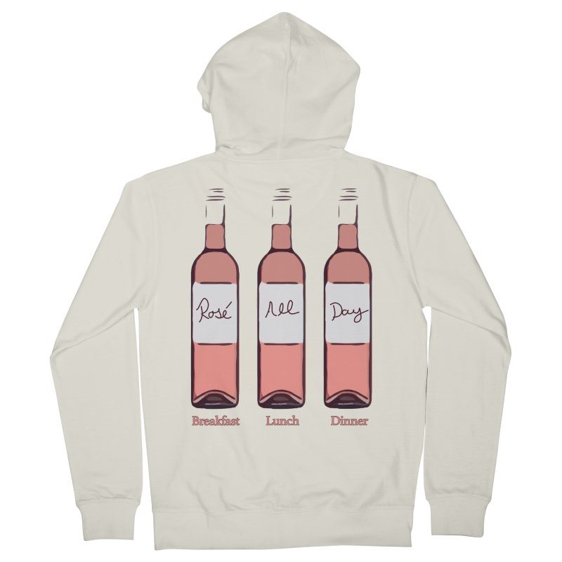 Rosé All Day Limited Men's French Terry Zip-Up Hoody by Watch What Crappens