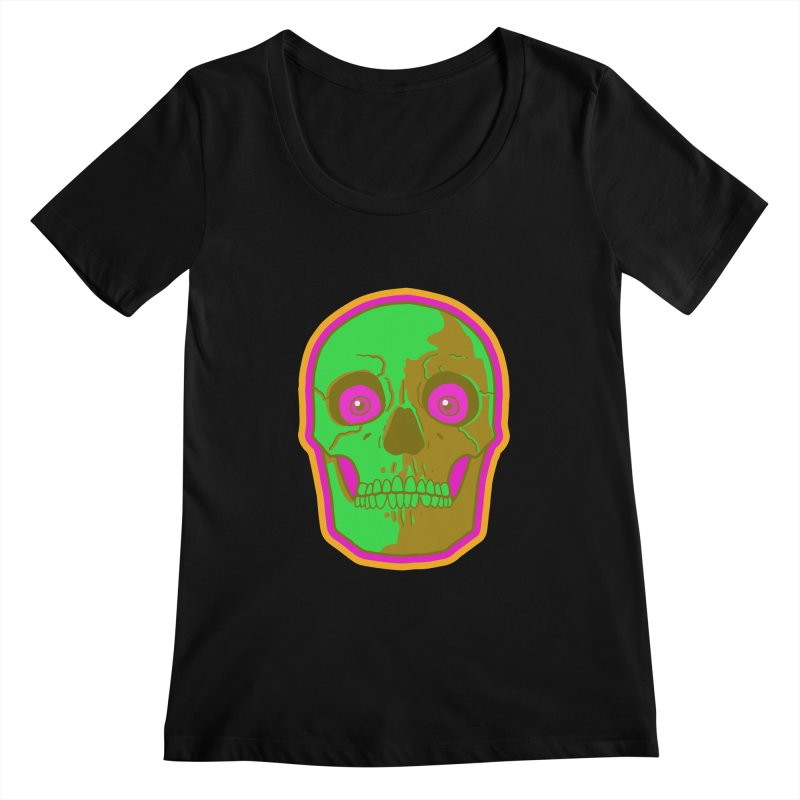 crazyskull No.2 Women's Scoopneck by crazy3dman's Artist Shop