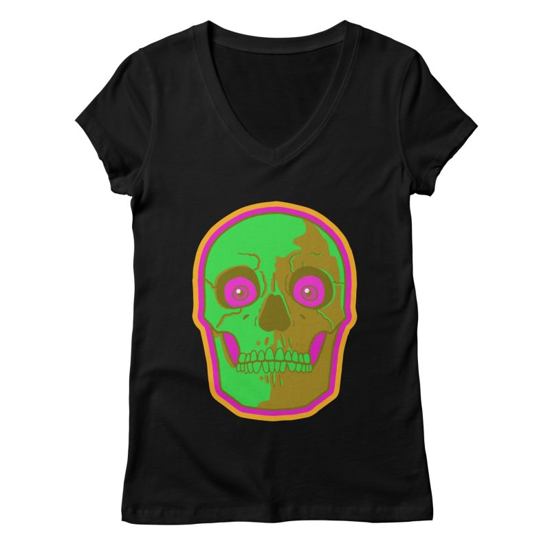 crazyskull No.2 Women's V-Neck by crazy3dman's Artist Shop