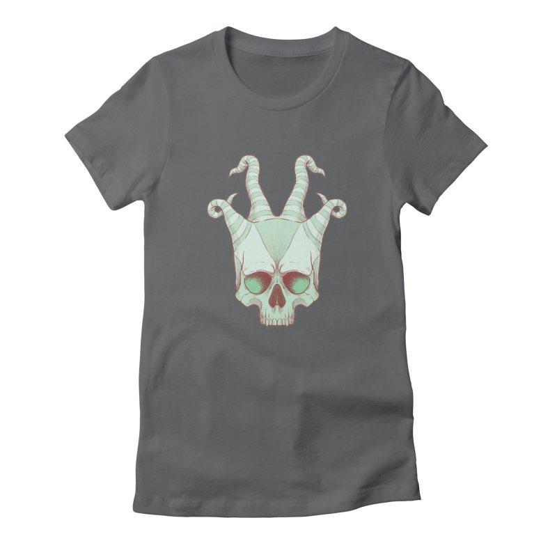 crazyskull No.3 Women's Fitted T-Shirt by crazy3dman's Artist Shop