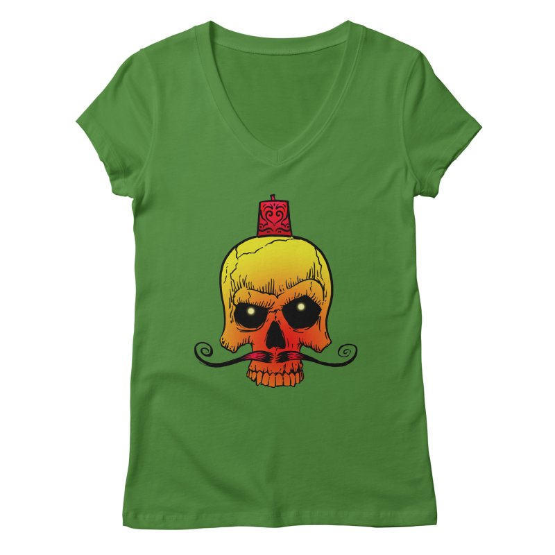 crazyskull No.5 Women's V-Neck by crazy3dman's Artist Shop