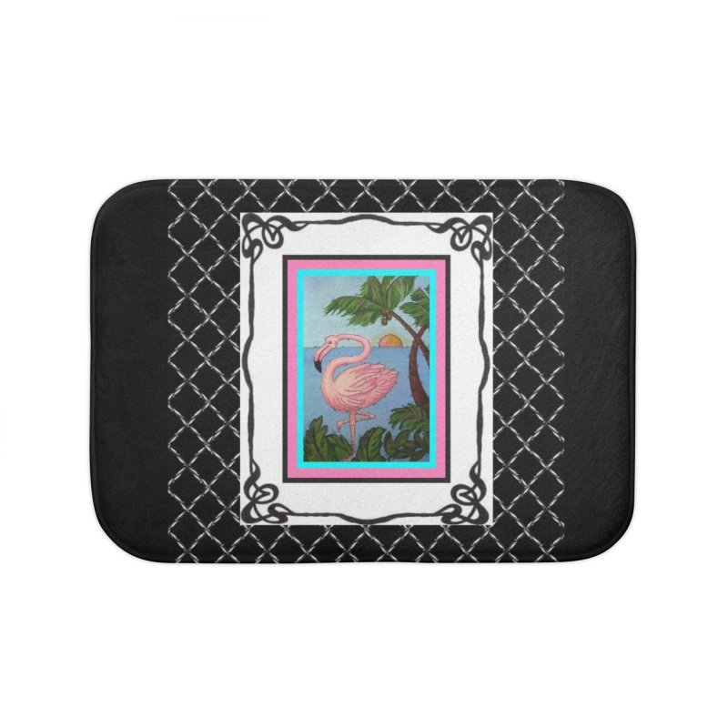 Flamingo Paradise Home Bath Mat by Creations of Joy's Artist Shop
