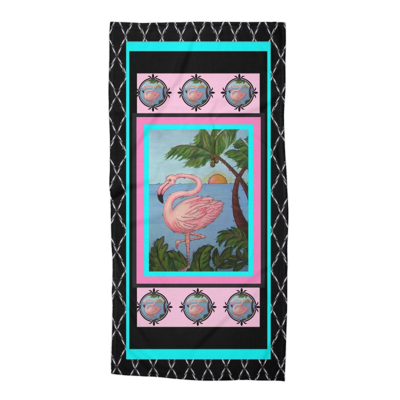 Flamingo Paradise in Beach Towel by Creations of Joy's Artist Shop