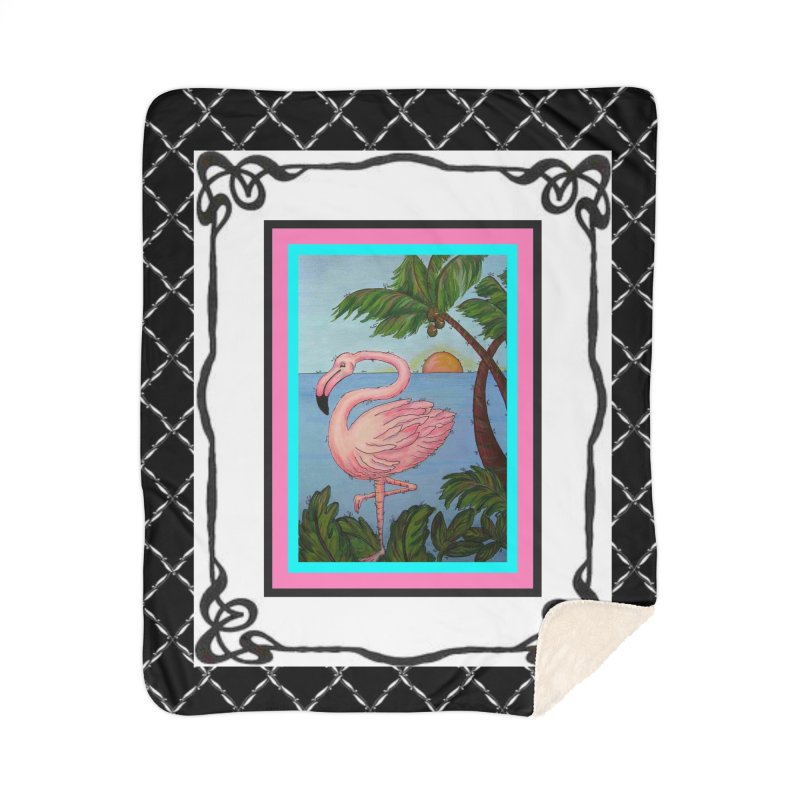 Flamingo Paradise Home Blanket by Creations of Joy's Artist Shop