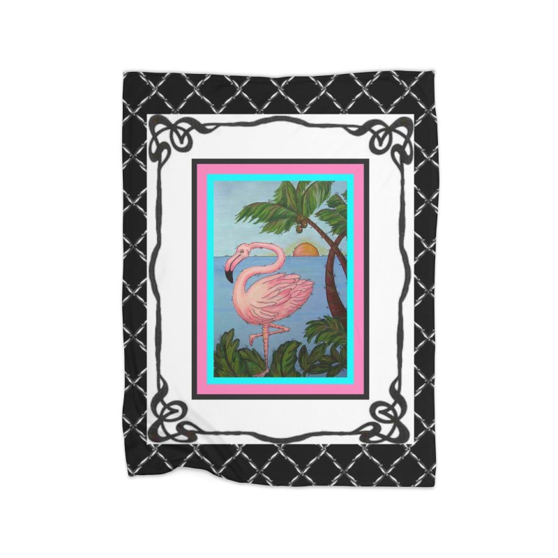 Flamingo Paradise Home Fleece Blanket Blanket by Creations of Joy's Artist Shop
