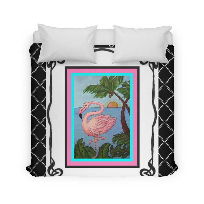 Flamingo Paradise Home Duvet by Creations of Joy's Artist Shop