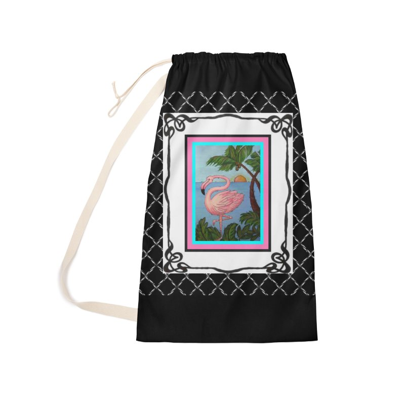 Flamingo Paradise Accessories Laundry Bag Bag by Creations of Joy's Artist Shop