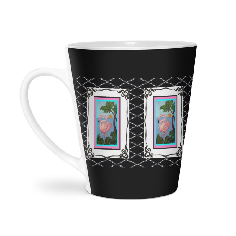 Flamingo Paradise Accessories Latte Mug by Creations of Joy's Artist Shop