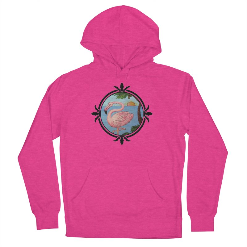Flamingo Paradise Men's French Terry Pullover Hoody by Creations of Joy's Artist Shop