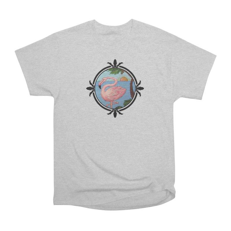 Flamingo Paradise Men's Heavyweight T-Shirt by Creations of Joy's Artist Shop