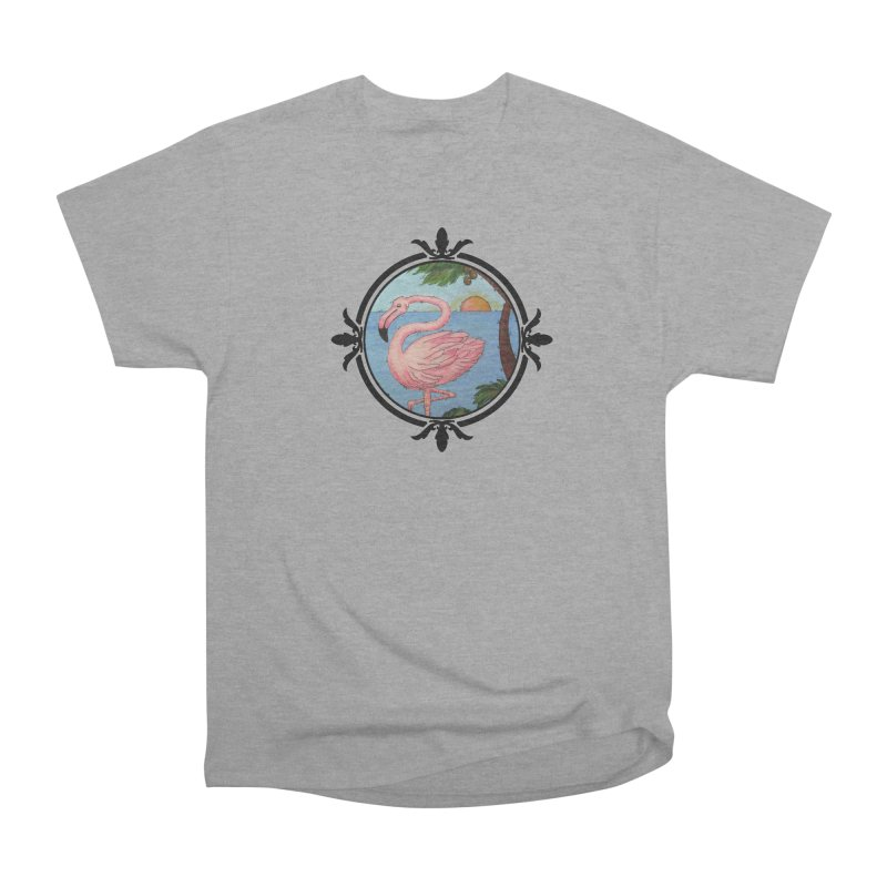 Flamingo Paradise Men's Heavyweight T-Shirt by Creations of Joy's Artist Shop