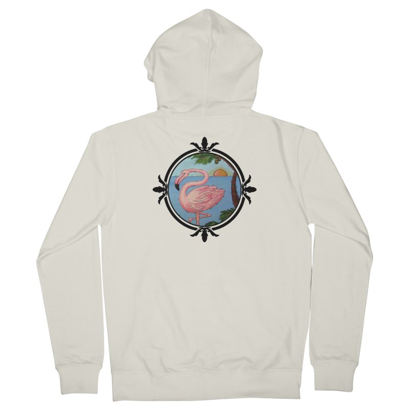 Flamingo Paradise Women's French Terry Zip-Up Hoody by Creations of Joy's Artist Shop