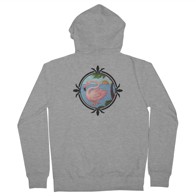 Flamingo Paradise Men's French Terry Zip-Up Hoody by Creations of Joy's Artist Shop