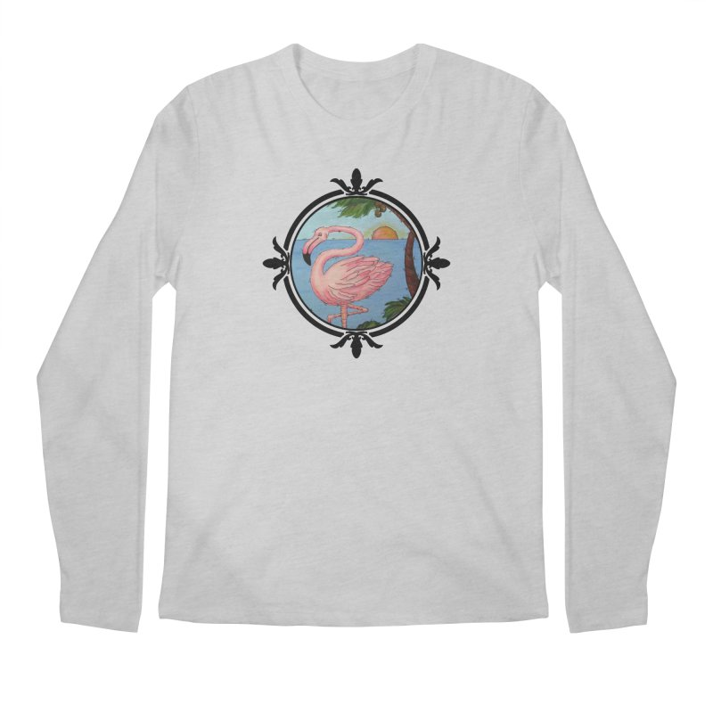 Flamingo Paradise Men's Regular Longsleeve T-Shirt by Creations of Joy's Artist Shop