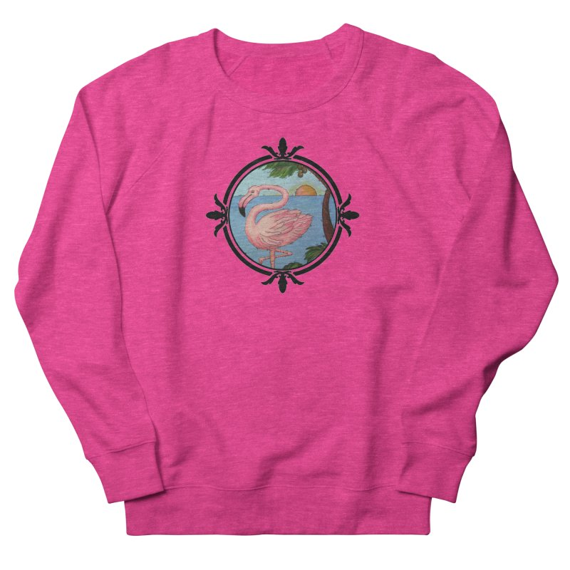 Flamingo Paradise Men's French Terry Sweatshirt by Creations of Joy's Artist Shop