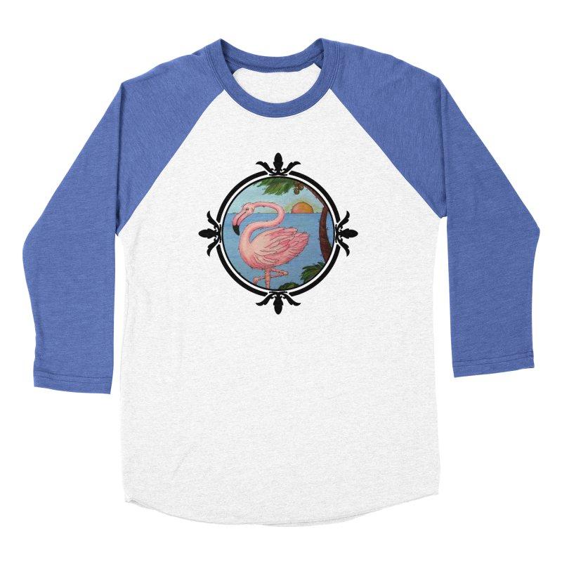 Flamingo Paradise Women's Baseball Triblend Longsleeve T-Shirt by Creations of Joy's Artist Shop