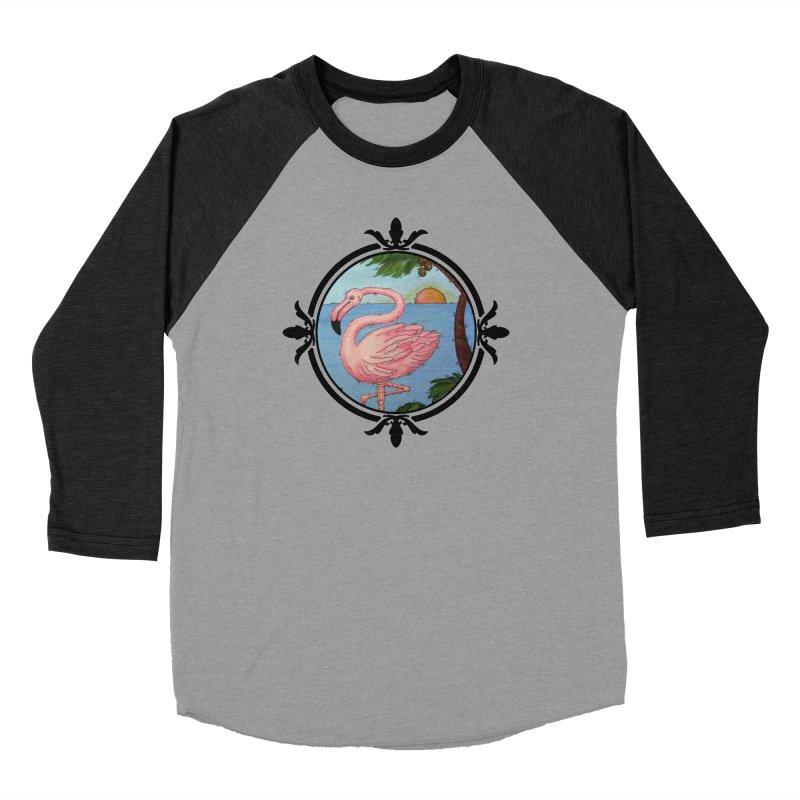 Flamingo Paradise Men's Baseball Triblend T-Shirt by Creations of Joy's Artist Shop