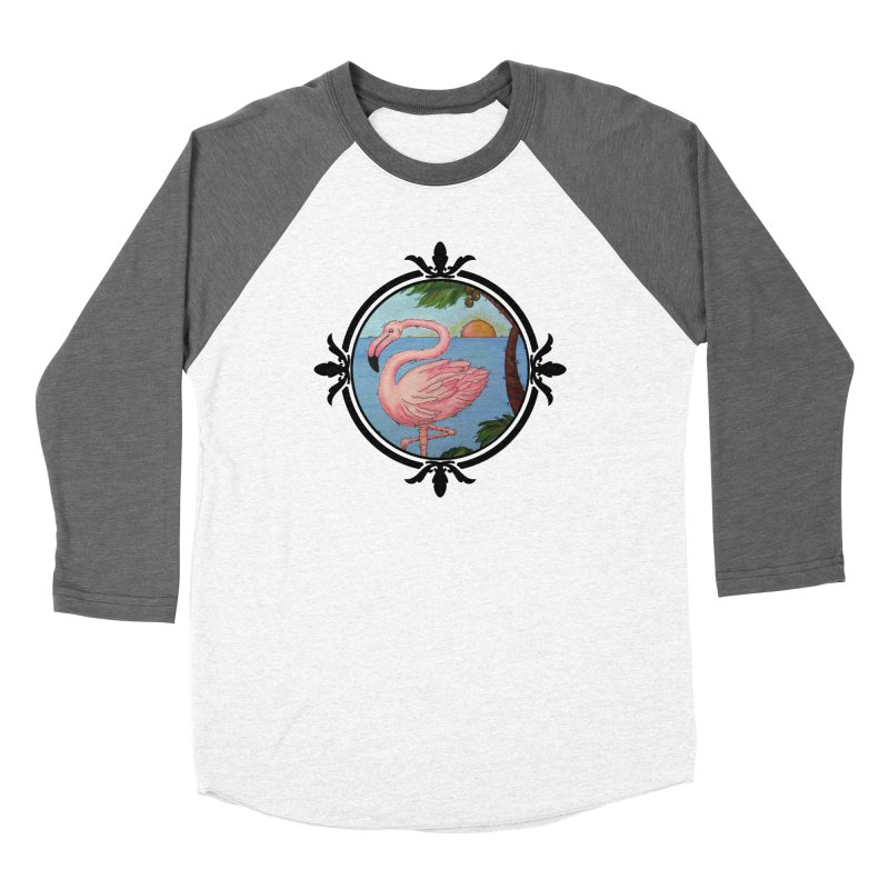 Flamingo Paradise Men's Baseball Triblend T-Shirt by Creations of Joy's Artist Shop