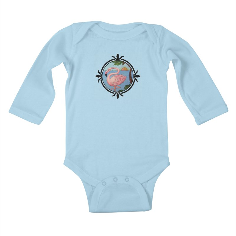 Flamingo Paradise Kids Baby Longsleeve Bodysuit by Creations of Joy's Artist Shop
