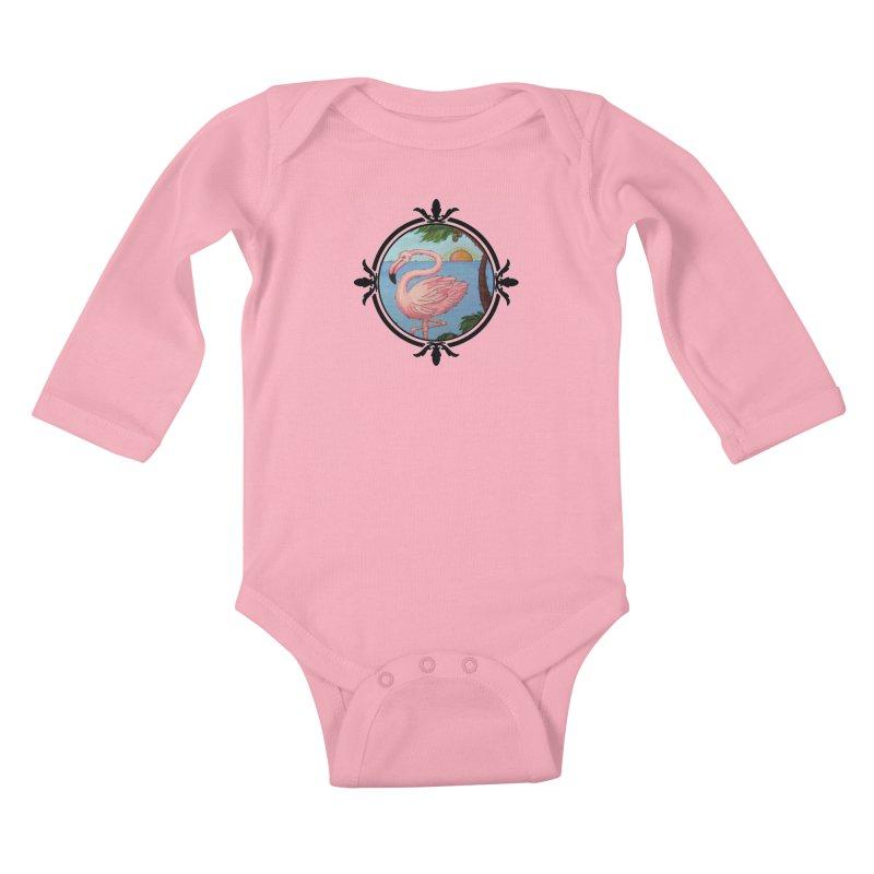 Flamingo Paradise Kids Baby Longsleeve Bodysuit by Creations of Joy's Artist Shop