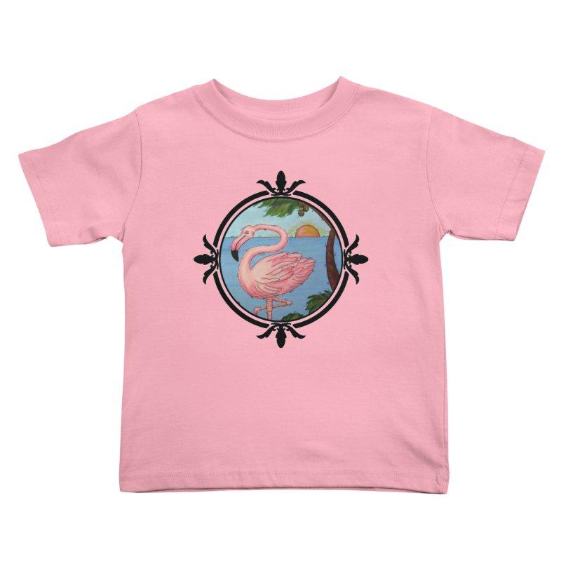 Flamingo Paradise Kids Toddler T-Shirt by Creations of Joy's Artist Shop