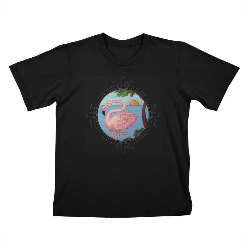 Flamingo Paradise Kids T-Shirt by Creations of Joy's Artist Shop