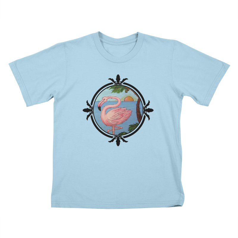 Flamingo Paradise Kids T-Shirt by Creations of Joy's Artist Shop