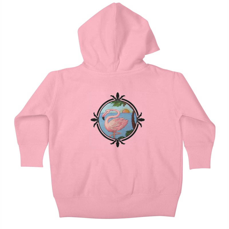 Flamingo Paradise Kids Baby Zip-Up Hoody by Creations of Joy's Artist Shop