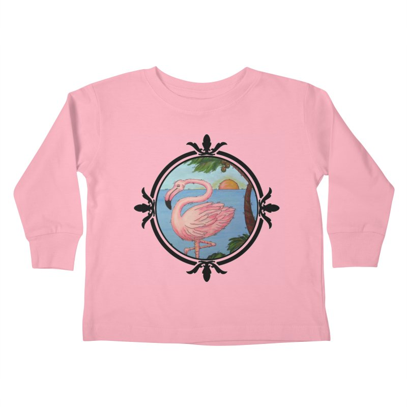 Flamingo Paradise Kids Toddler Longsleeve T-Shirt by Creations of Joy's Artist Shop