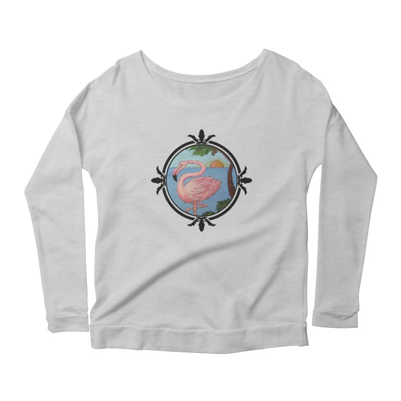 Flamingo Paradise Women's Scoop Neck Longsleeve T-Shirt by Creations of Joy's Artist Shop