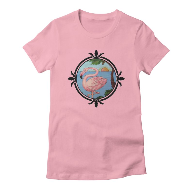 Flamingo Paradise Women's Fitted T-Shirt by Creations of Joy's Artist Shop
