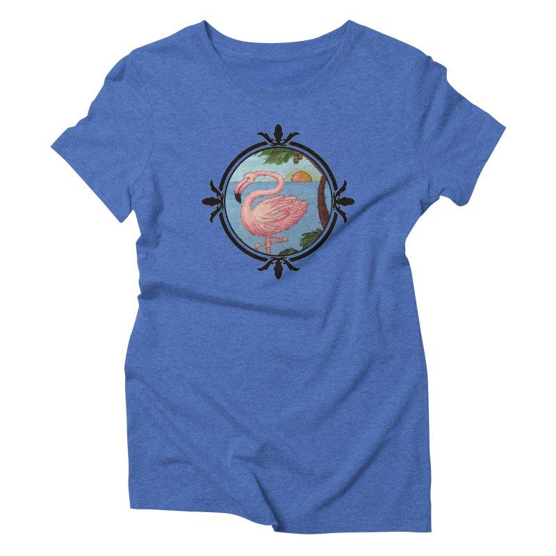 Flamingo Paradise Women's Triblend T-Shirt by Creations of Joy's Artist Shop