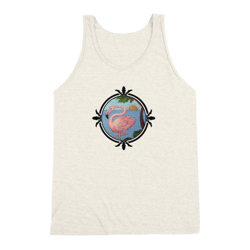 Flamingo Paradise Men's Triblend Tank by Creations of Joy's Artist Shop