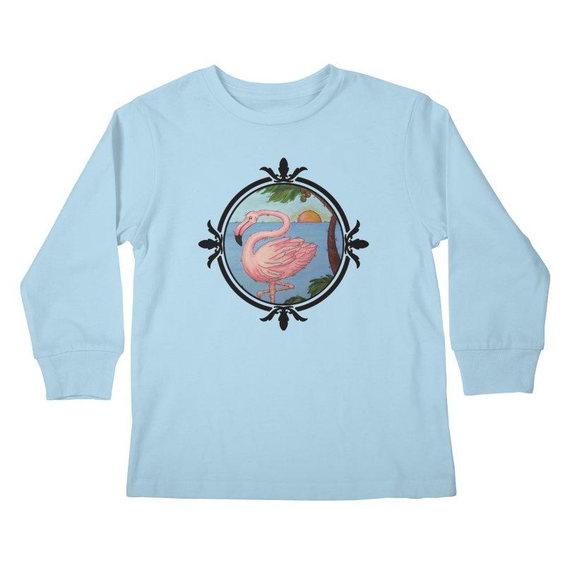 Flamingo Paradise Kids Longsleeve T-Shirt by Creations of Joy's Artist Shop