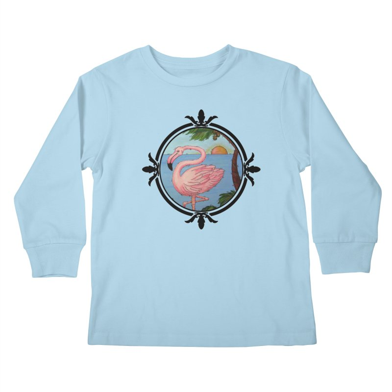 Flamingo Paradise Kids Longsleeve T-Shirt by Creations of Joy's Artist Shop