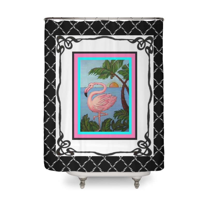 Flamingo Paradise Home Shower Curtain by Creations of Joy's Artist Shop