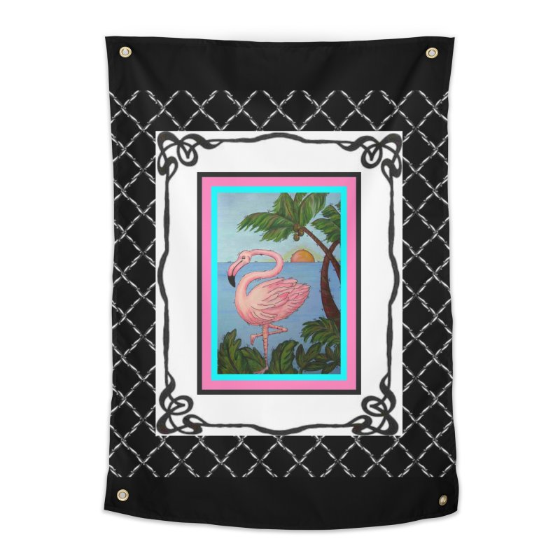 Flamingo Paradise Home Tapestry by Creations of Joy's Artist Shop