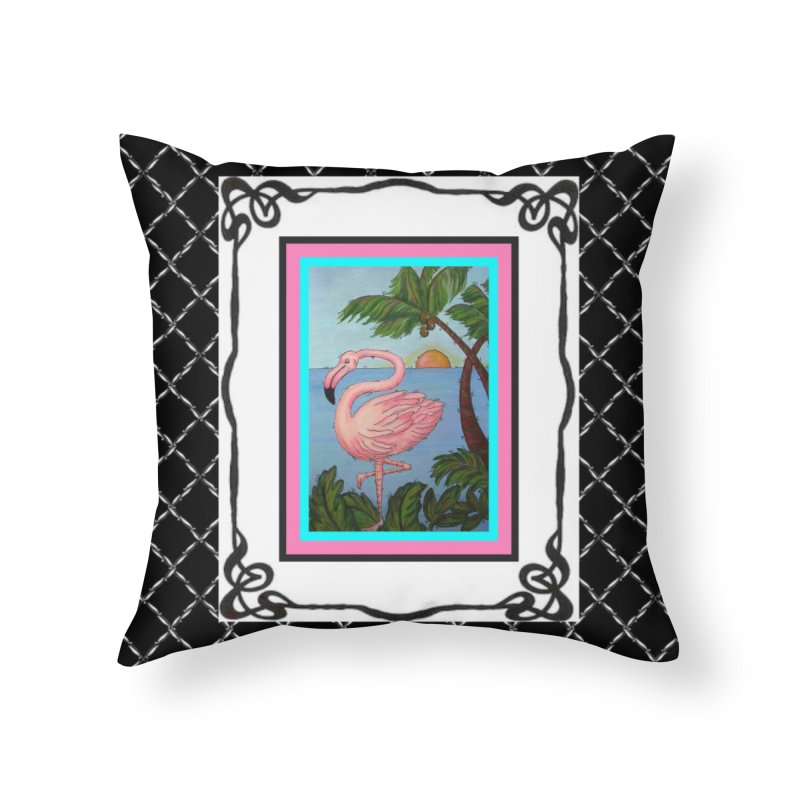 Flamingo Paradise Home Throw Pillow by Creations of Joy's Artist Shop