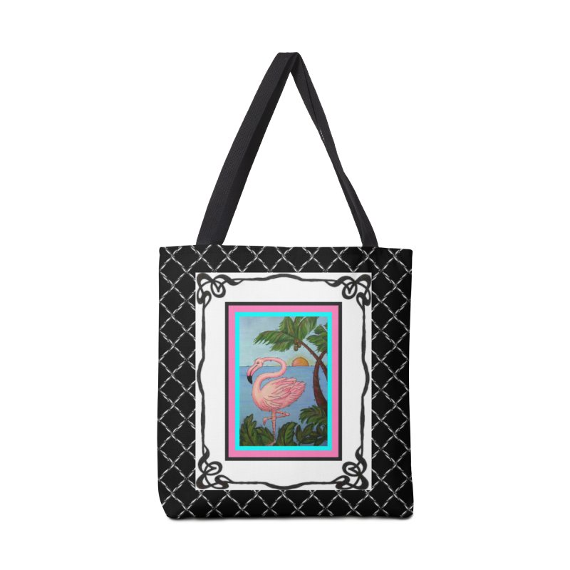 Flamingo Paradise Accessories Bag by Creations of Joy's Artist Shop
