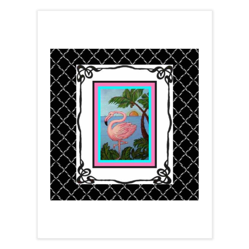 Flamingo Paradise Home Fine Art Print by Creations of Joy's Artist Shop