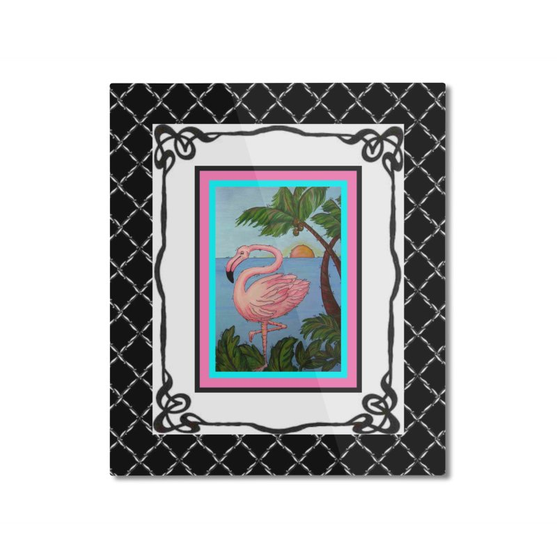 Flamingo Paradise Home Mounted Aluminum Print by Creations of Joy's Artist Shop