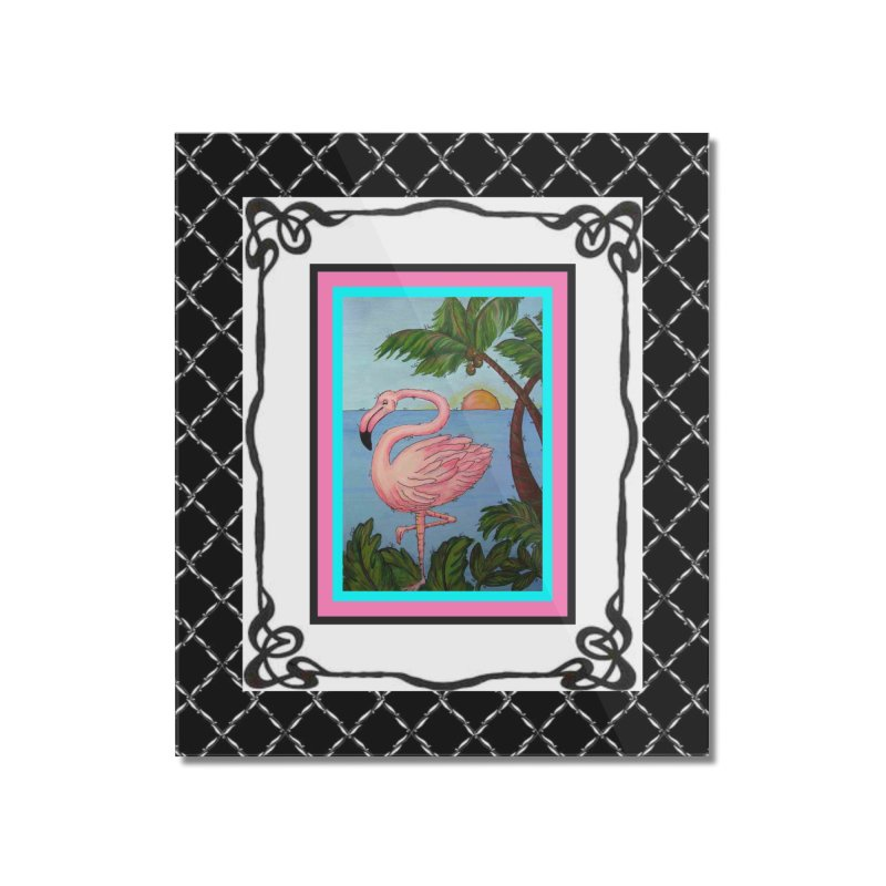 Flamingo Paradise Home Mounted Acrylic Print by Creations of Joy's Artist Shop