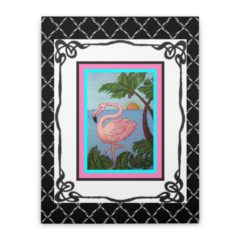 Flamingo Paradise Home Stretched Canvas by Creations of Joy's Artist Shop