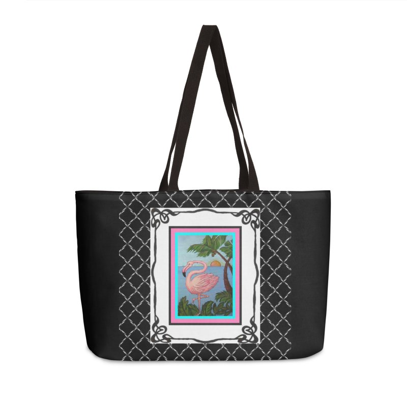 Flamingo Paradise Accessories Weekender Bag Bag by Creations of Joy's Artist Shop