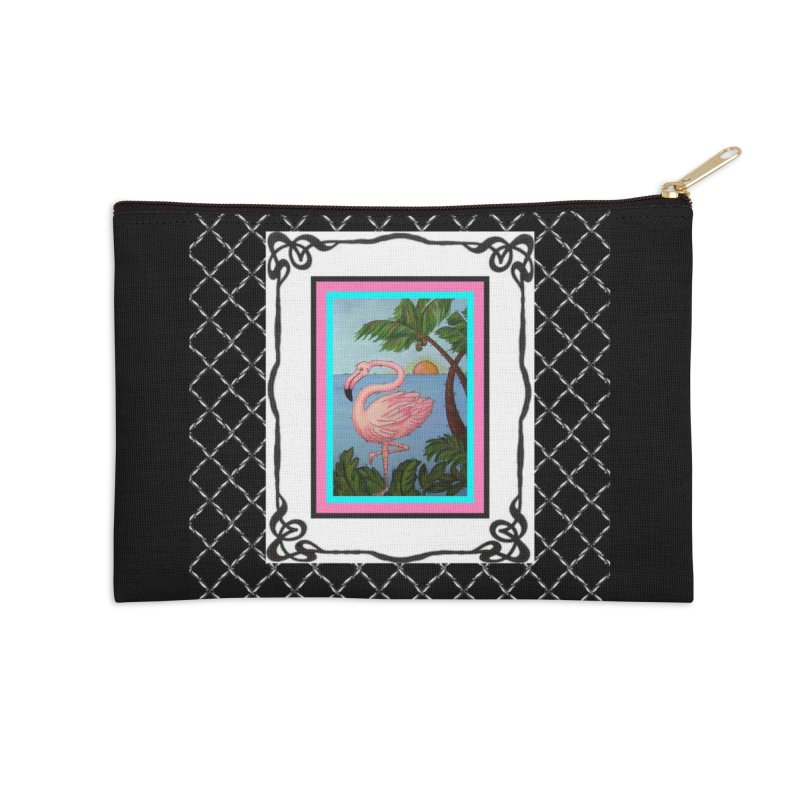 Flamingo Paradise Accessories Zip Pouch by Creations of Joy's Artist Shop