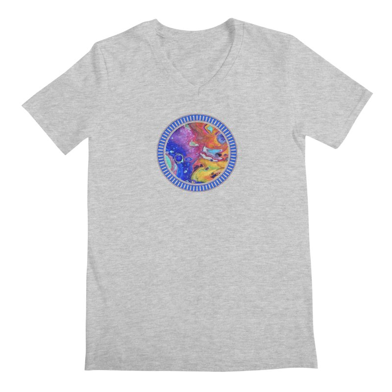 Wild and Crazy Acrylic Flow Men's V-Neck by Creations of Joy's Artist Shop