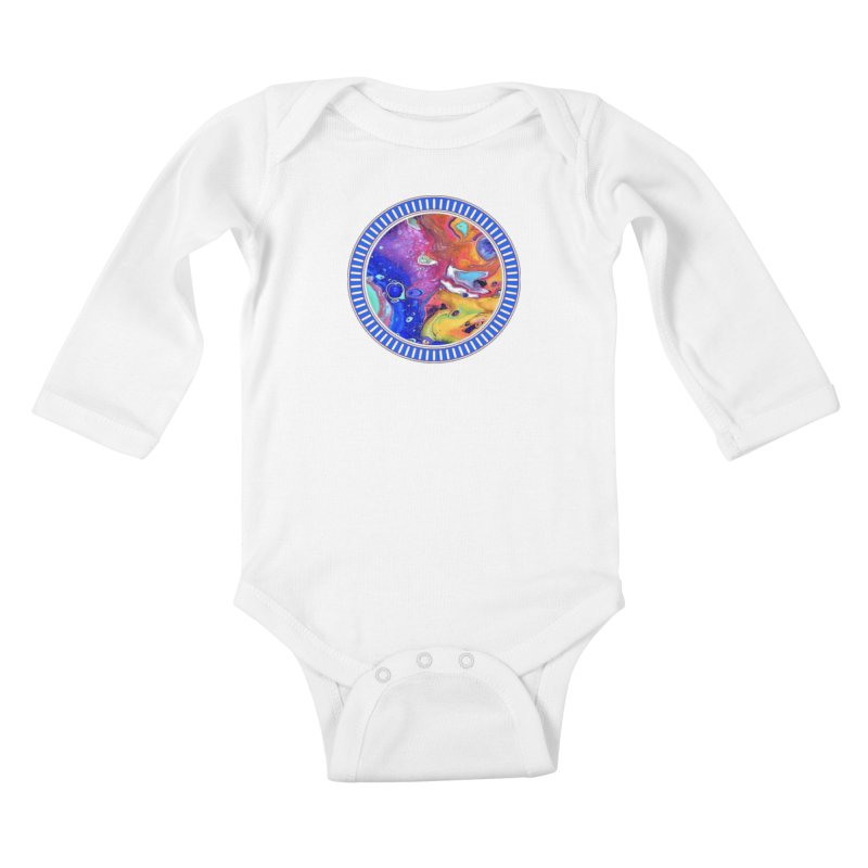 Wild and Crazy Acrylic Flow Kids Baby Longsleeve Bodysuit by Creations of Joy's Artist Shop