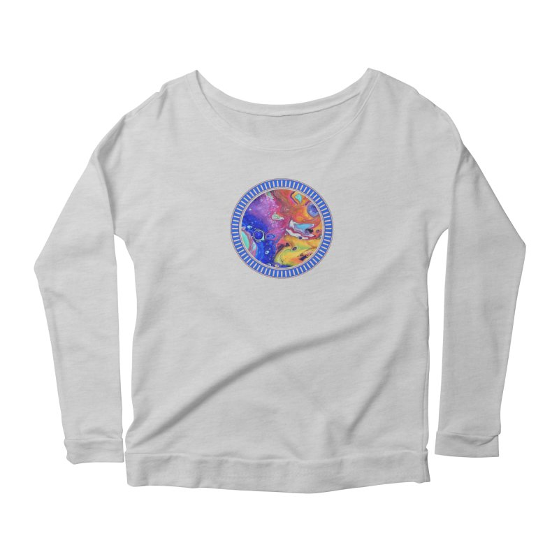 Wild and Crazy Acrylic Flow Women's Longsleeve Scoopneck  by Creations of Joy's Artist Shop