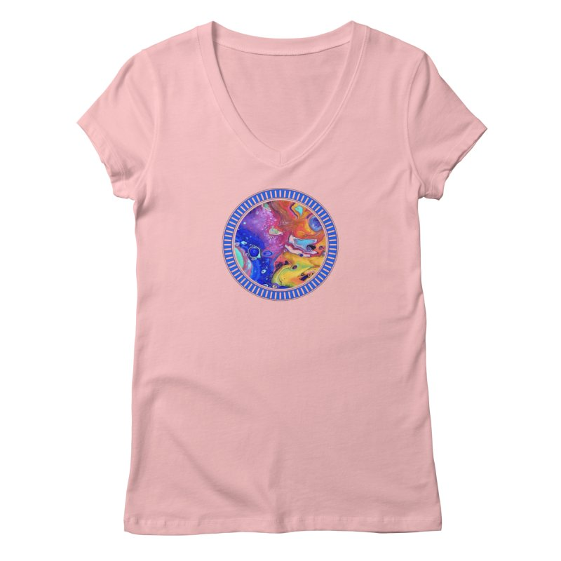 Wild and Crazy Acrylic Flow Women's V-Neck by Creations of Joy's Artist Shop